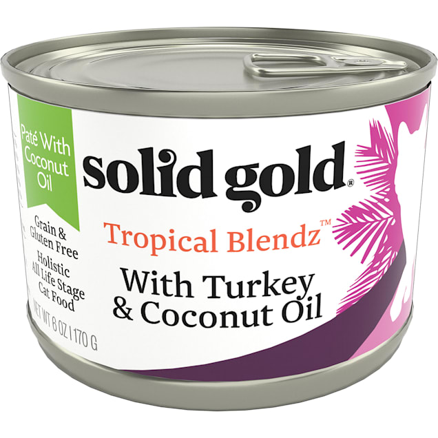 Solid Gold Tropical Blendz Turkey & Coconut Oil Pate Wet Cat Food, 6 oz., Case of 8 - Carousel image #1