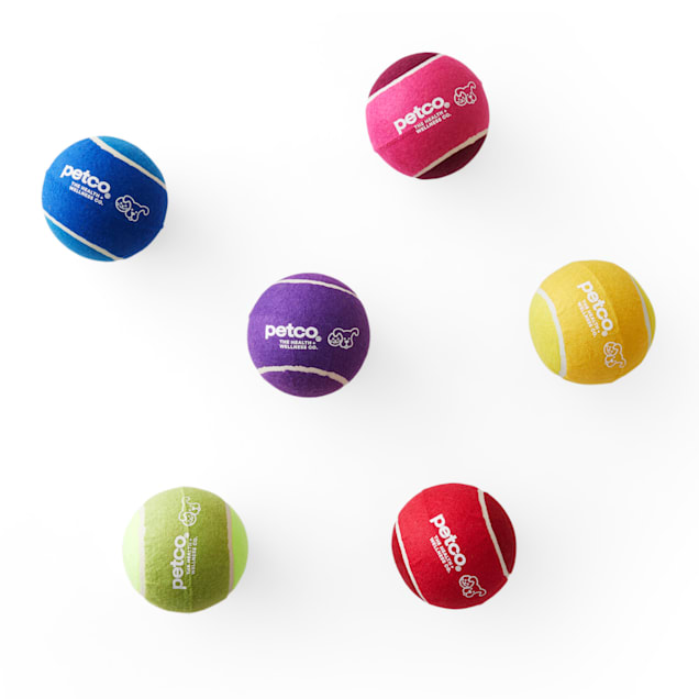"""Petco Jumbo Tennis Ball Dog Toy in Assorted Colors, 4.75"""" - Carousel image #1"""