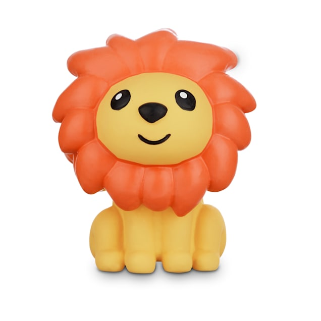 Leaps & Bounds Chomp and Chew Latex Orange Mane Lion Dog Toy, Small - Carousel image #1