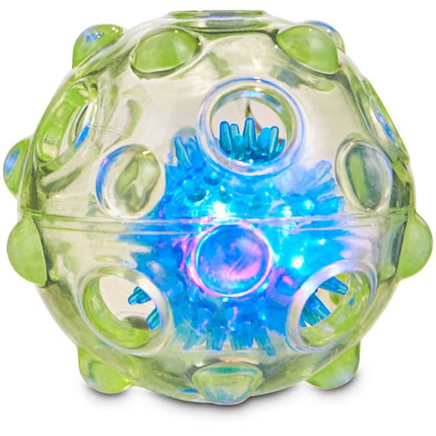 """Leaps & Bounds Chomp and Chew Light Up Ball Dog Toy, 3.5"""" - Carousel image #1"""