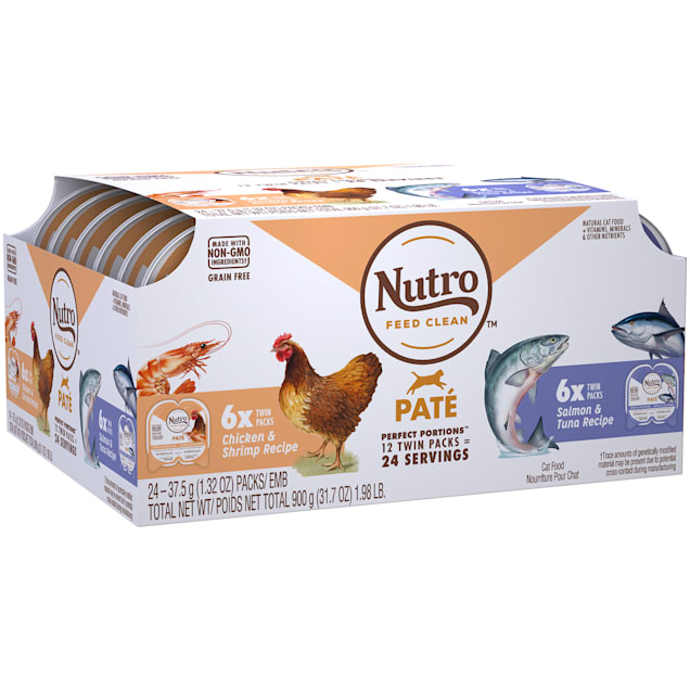 Nutro Perfect Portions Pate Multi-Pack Real Salmon & Tuna and Real Chicken & Shrimp Wet Cat Food, 1.98 lbs., Count of 12 - Carousel image #1