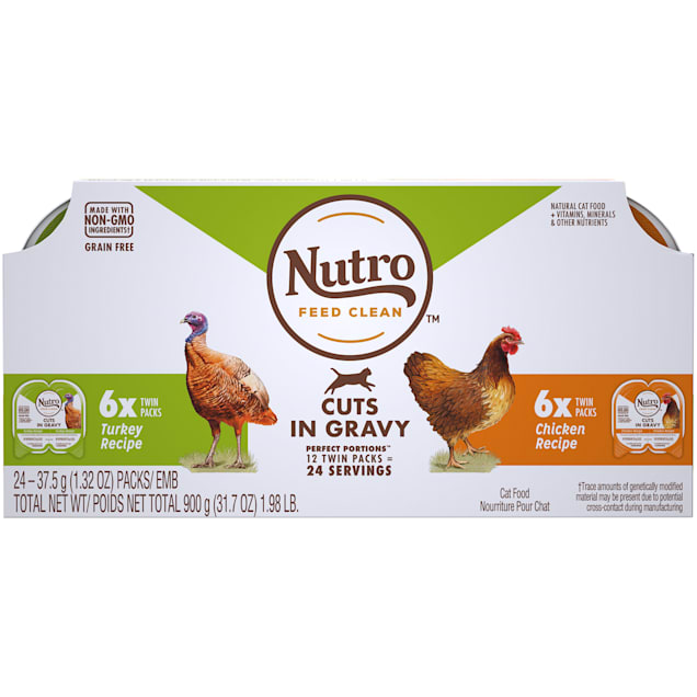 Nutro Perfect Portions Cuts in Gravy Variety Pack Real Turkey and Chicken Wet Cat Food, 1.98 lbs., Count of 12 - Carousel image #1