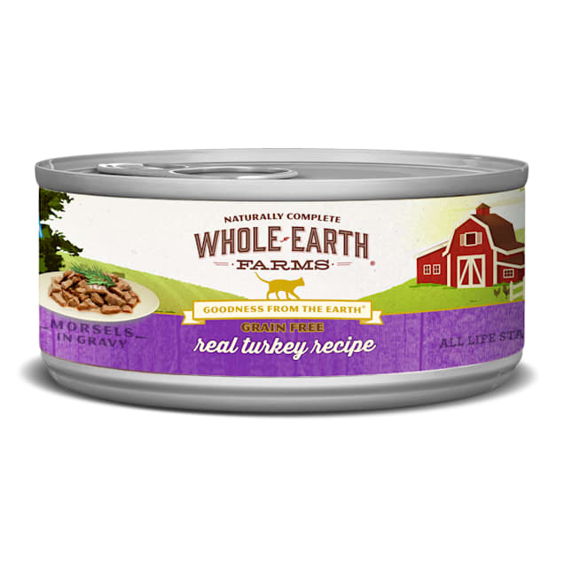 Whole Earth Farms Grain Free Real Morsels in Gravy Turkey Cat Wet Food, 5 oz., Case of 24 - Carousel image #1