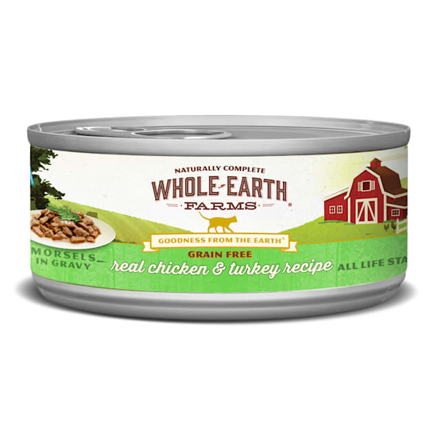 Whole Earth Farms Grain Free Real Morsels in Gravy Chicken & Turkey Cat Wet Food, 5 oz., Case of 24 - Carousel image #1