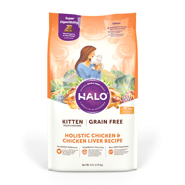 Halo Kitten Grain Free Holistic Chicken & Chicken Liver Dry Cat Food, 6 lbs. - Carousel image #1