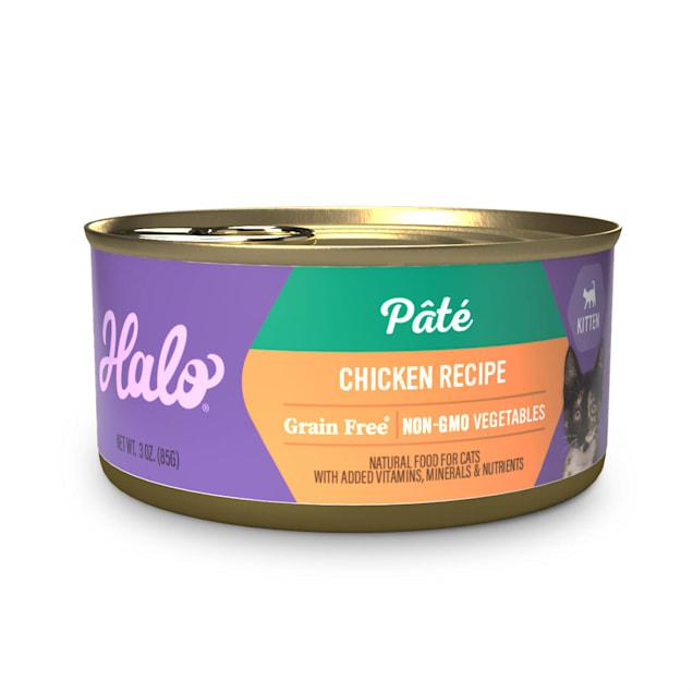 Halo Grain Free Kitten Chicken Recipe Wet Cat Food, 3 oz., Case of 12 - Carousel image #1