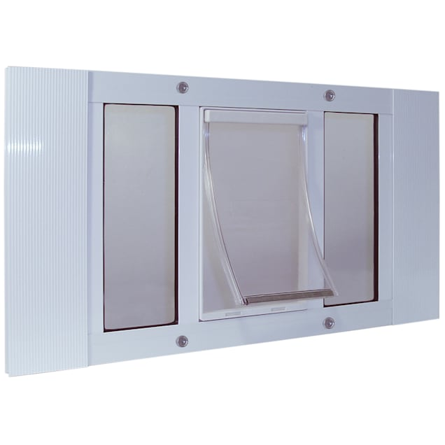 "Perfect Pet 23-28"" Sash Window Pet Door in White, 17.875IN x 1.75IN x 23IN - Carousel image #1"