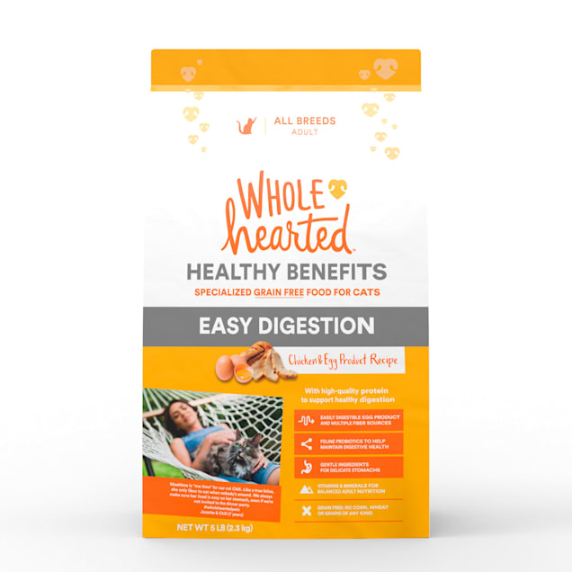 WholeHearted Healthy Digestion Chicken and Egg Product Recipe Dry Cat Food, 5 lbs. - Carousel image #1