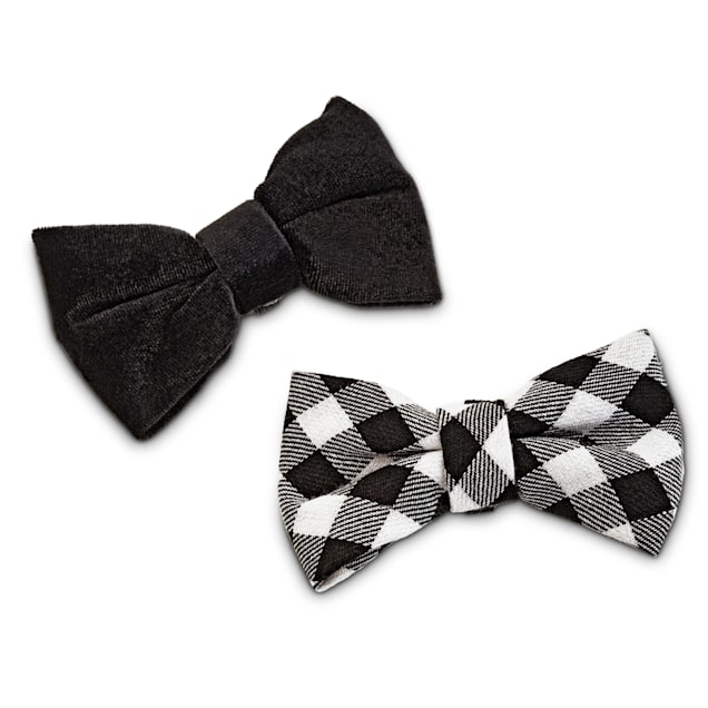 Bond & Co. Black and Gingham Dog Bow Tie Set, 2 Pack - Carousel image #1
