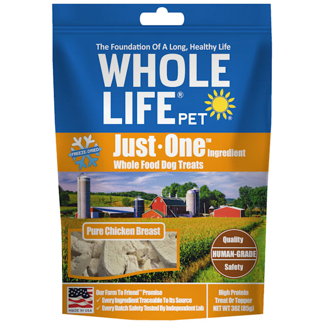 Whole Life Pet Just One Single Ingredient USA Freeze Dried Chicken Dog Treats, 3 oz. - Carousel image #1