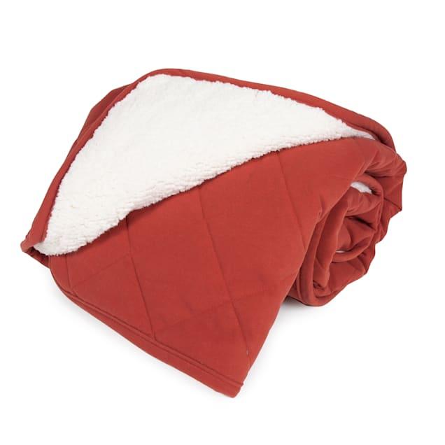 "Carolina Pet Quilt Microfiber & Cloud Sherpa Throw in Red, 48"" L x 54"" W - Carousel image #1"