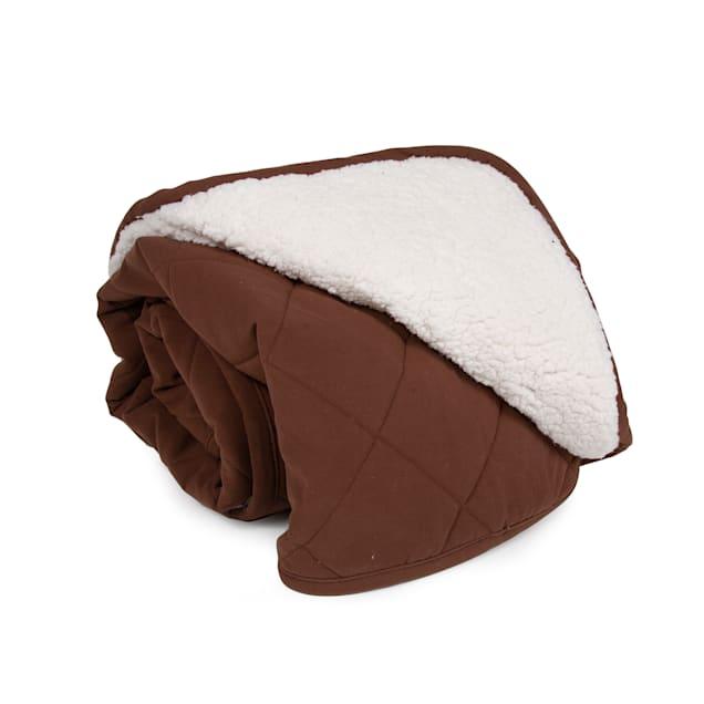 "Carolina Pet Quilt Microfiber & Cloud Sherpa Throw in Chocolate, 48"" L x 54"" W - Carousel image #1"
