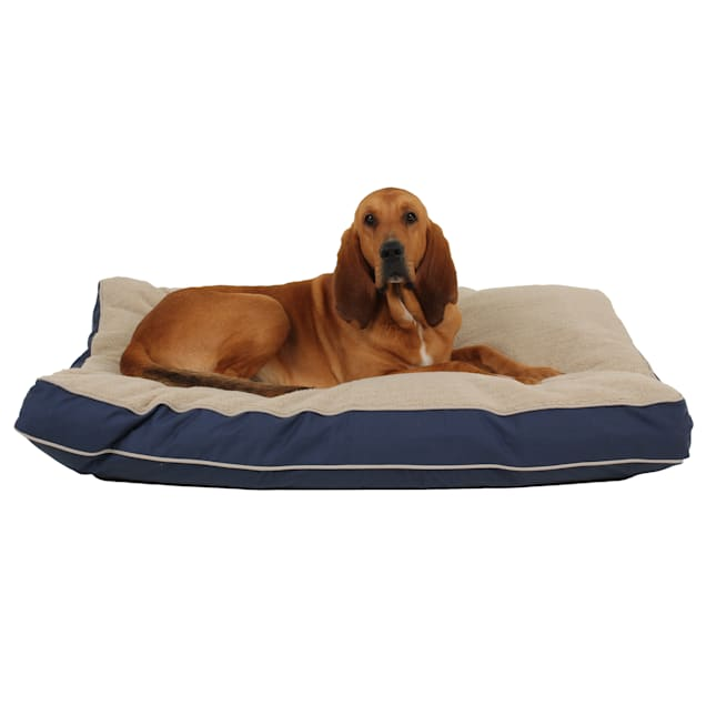"Carolina Pet Rectangular Napper with Berber Top in Blue Canvas with Khaki Cording, 48"" L x 36"" W - Carousel image #1"