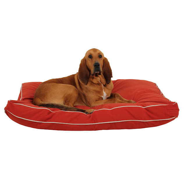 "Carolina Pet Rectangular Napper in Red Canvas with Khaki Cording, 48"" L x 36"" W - Carousel image #1"