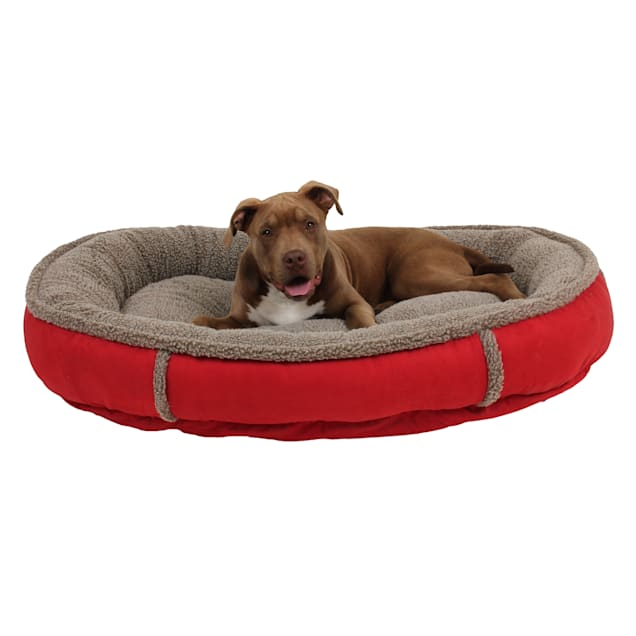 """Carolina Pet Faux Suede & Sherpa Comfy Cup in Red, 42"""" L x 36"""" W - Carousel image #1"""