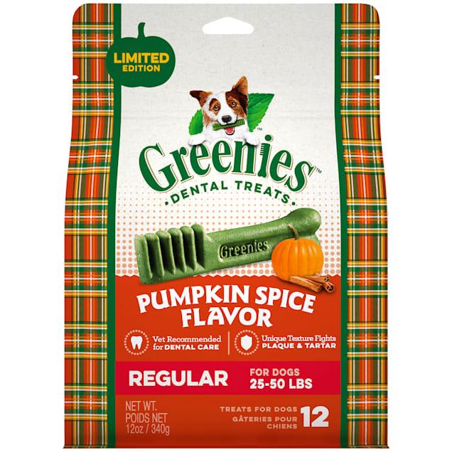 Greenies Pumpkin Spice Flavor Regular Size Dog Dental Chews, 12 oz. - Carousel image #1
