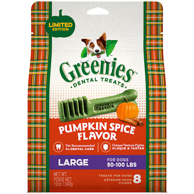 Greenies Pumpkin Spice Flavor Large Dog Dental Chews, 12 oz. - Carousel image #1