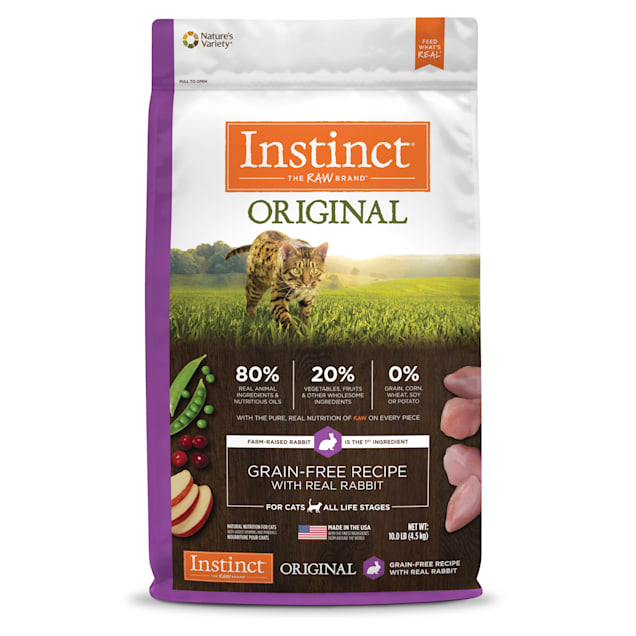Instinct Original Grain-Free Recipe with Real Rabbit Freeze-Dried Raw Coated Dry Cat Food, 10 lbs. - Carousel image #1