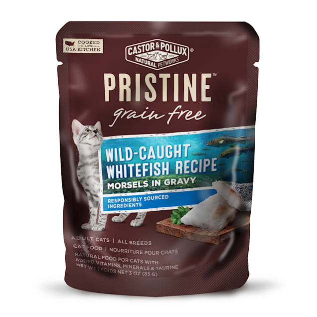Castor & Pollux Pristine Grain Free Wild-Caught Whitefish Recipe Wet Cat Food Pouches, 3 oz., Case of 24 - Carousel image #1