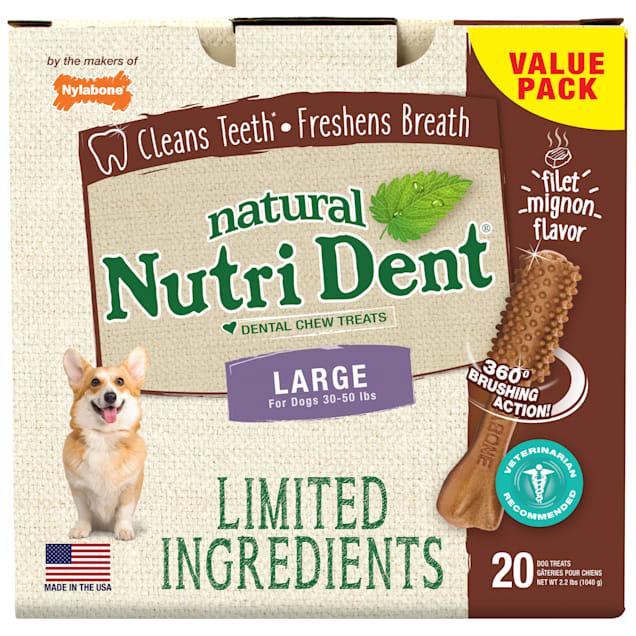 Nylabone Nutri Dent Limited Ingredients Large Filet Mignon Dental Chews, 2.2 lb., Pack of 20 - Carousel image #1
