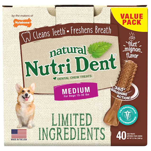 Nylabone Nutri Dent Limited Ingredients Medium Filet Mignon Dental Chews, 2.3 lb., Pack of 40 - Carousel image #1