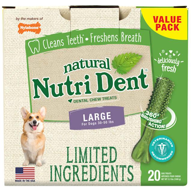 Nylabone Nutri Dent Limited Ingredients Large Fresh Breath Dental Chews, 2.2 lb., Pack of 20 - Carousel image #1