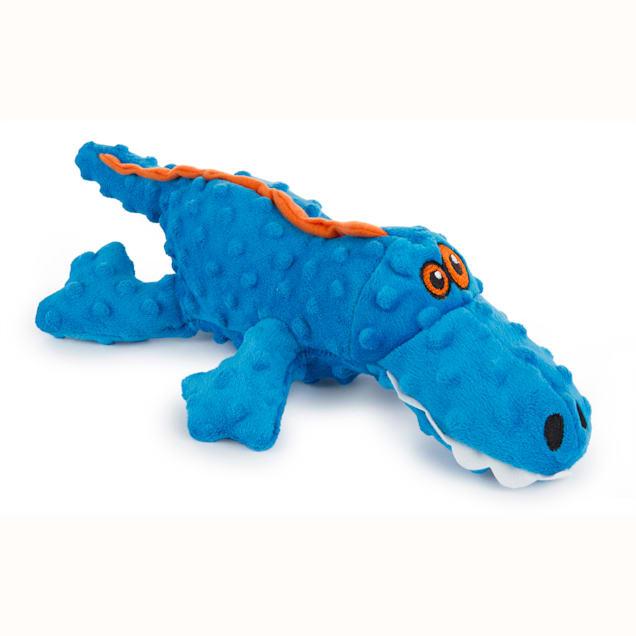 goDog Gators With Chew Guard Technology Plush Squeaker Dog Toy Blue, Large - Carousel image #1