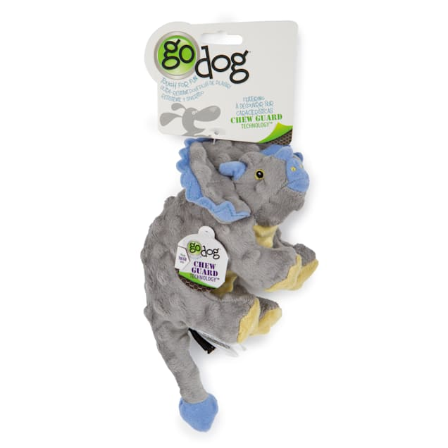 goDog Dinos Frills Gray Small With Chew Guard Grey, Small - Carousel image #1