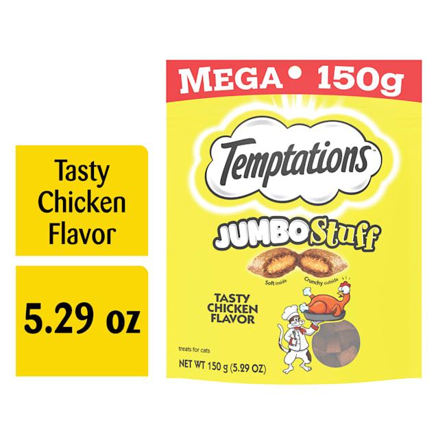 Temptations Jumbo Stuff Tasty Chicken Flavor Crunchy and Soft Cat Treats, 5.29 oz. - Carousel image #1