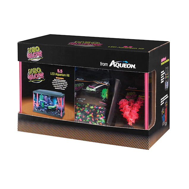 Aqueon Aquarium Kit Pink NeoGlow, 5.5 Gallons - Carousel image #1