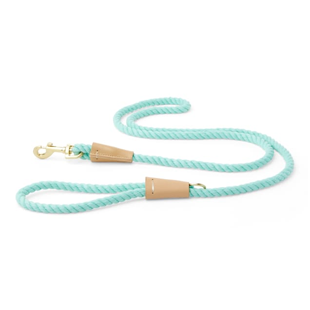 Bond & Co. Buff and Turquoise Rope Dog Leash, Small - Carousel image #1
