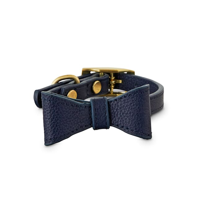 Bond & Co. Navy Leather Bow Tie Dog Collar, XX-Small - Carousel image #1