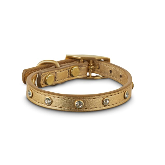 Bond & Co. Jeweled Golden Leather Dog Collar, XX-Small - Carousel image #1