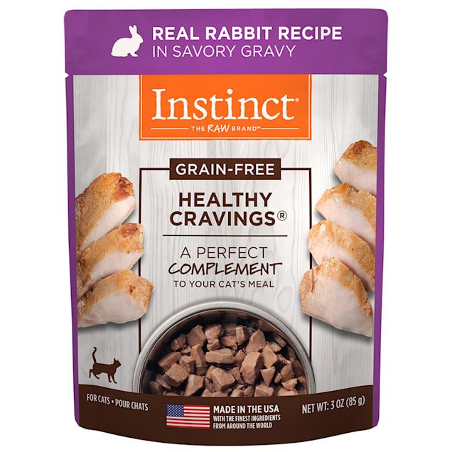 Instinct Healthy Cravings Grain-Free Cuts & Gravy Real Rabbit Recipe in Savory Gravy Wet Cat Food, 3 oz., Case of 24 - Carousel image #1