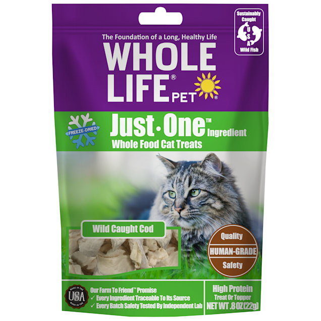 Whole Life Pet Just One Single Ingredient USA Freeze Dried Cod Treats for Cats, 0.8 oz. - Carousel image #1