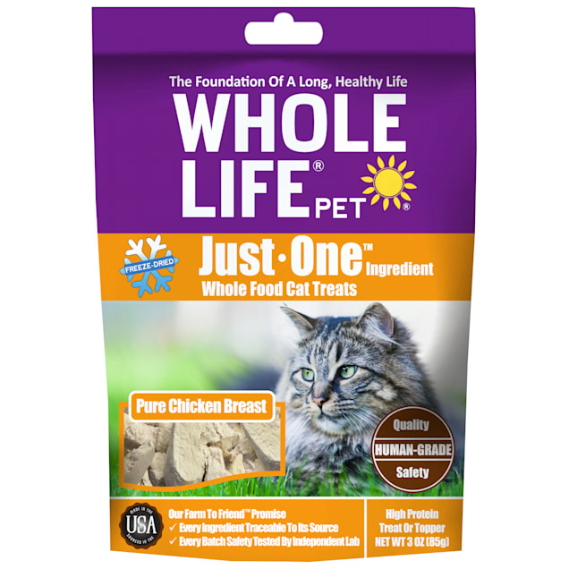 Whole Life Pet Just One Single Ingredient USA Freeze Dried Chicken Cat Treats, 3 oz. - Carousel image #1