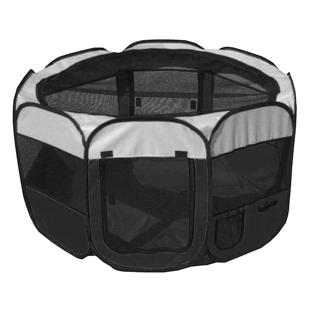 Pet Life All Terrain Lightweight Easy Folding Wire Framed Collapsible Travel Pet Playpen Black And White, Medium - Carousel image #1