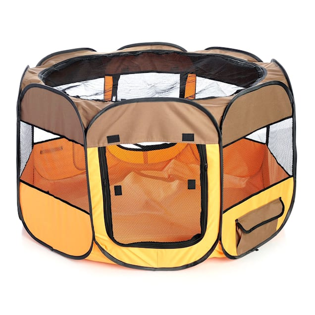 Pet Life All Terrain Lightweight Easy Folding Wire Framed Collapsible Travel Pet Playpen Brown And Orange, Medium - Carousel image #1