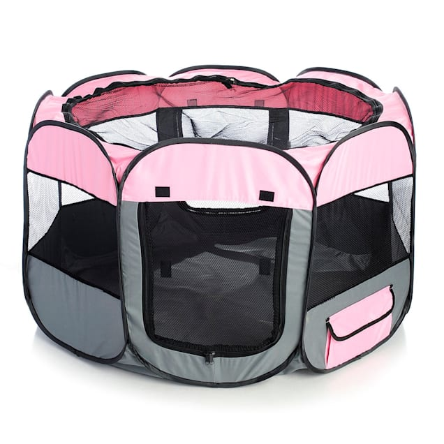 Pet Life All Terrain Lightweight Easy Folding Wire Framed Collapsible Travel Pet Playpen Pink And Grey, Medium - Carousel image #1