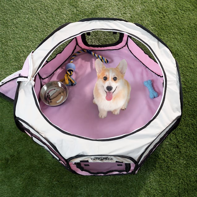 PETMAKER Portable Pop Up Pet Play Pen-Pink, Small - Carousel image #1
