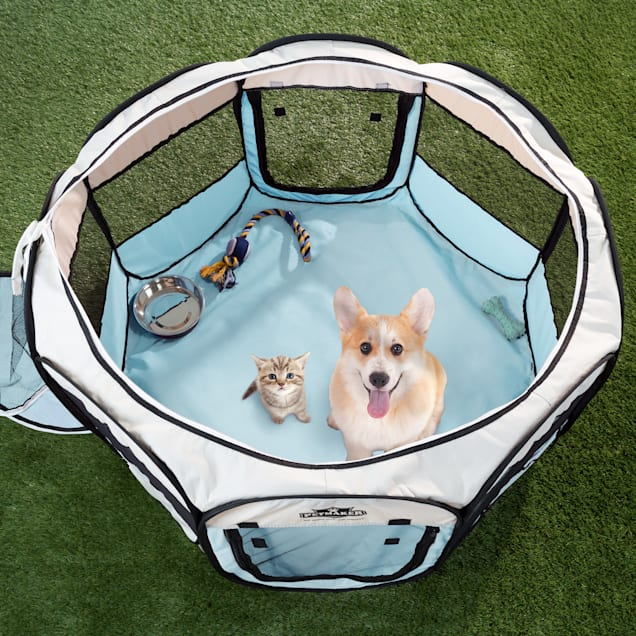 PETMAKER Portable Pop Up Pet Play Pen-Blue, Small - Carousel image #1