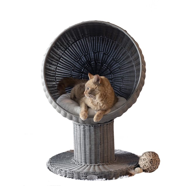 "The Refined Feline Kitty Ball Bed In Smoke, 17"" L X 17"" W X 28"" H - Carousel image #1"