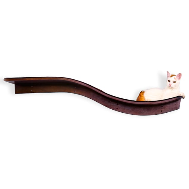 "The Refined Feline Lotus Branch Cat Shelf In Mahogany, 61"" L X 10.5"" W X 12"" H - Carousel image #1"