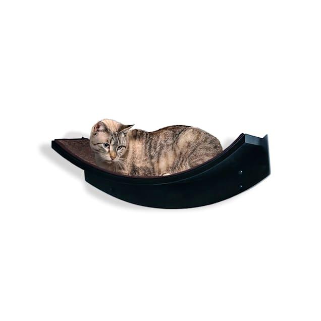 "The Refined Feline Lotus Leaf Cat Shelf In Espresso, 22"" L X 10.5"" W X 9"" H - Carousel image #1"
