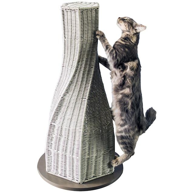 "The Refined Feline Calypso Everlasting Cat Scratcher In Smoke, 16"" L X 16"" W X 31"" H - Carousel image #1"