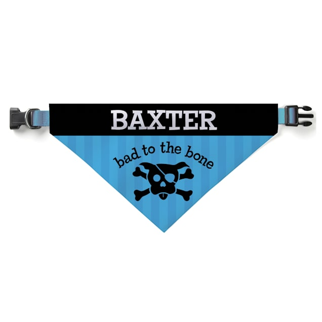 Custom Personalization Solutions Personalized Bad To The Bone Dog Bandana Collar Cover Blue - Carousel image #1