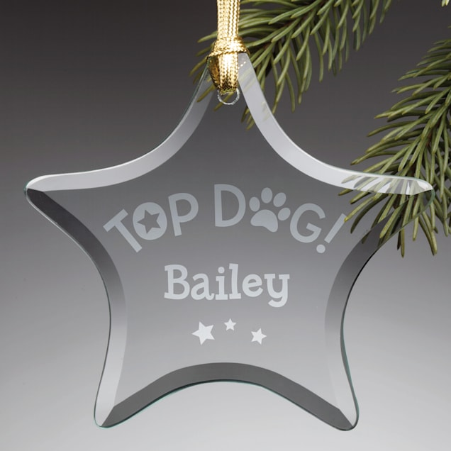 Custom Personalization Solutions Personalized Top Dog Glass Star Ornament - Carousel image #1