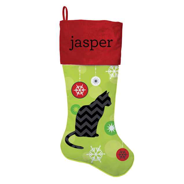 Custom Personalization Solutions Personalized Chevron Cat Stocking - Carousel image #1