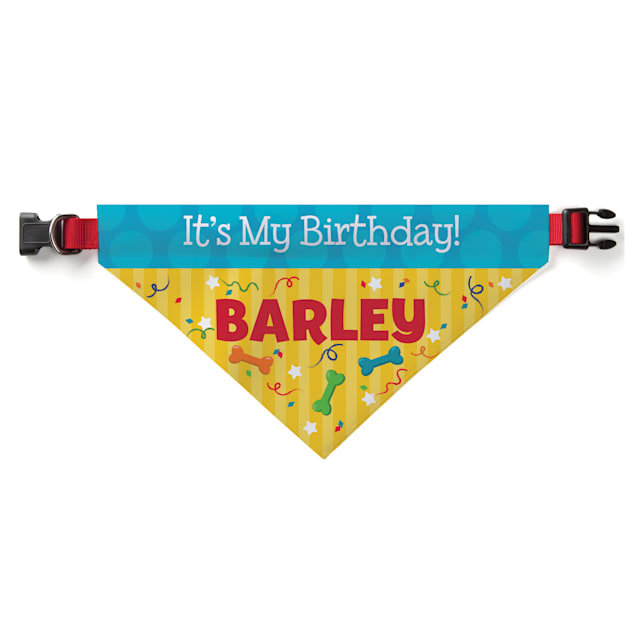 Custom Personalization Solutions It's My Birthday Personalized Pet Bandana Collar Cover - Carousel image #1