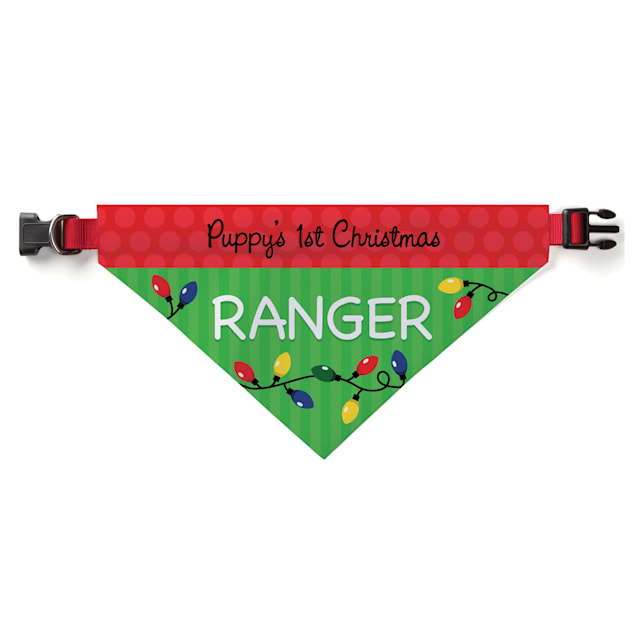 Custom Personalization Solutions Personalized Puppy's 1st Christmas Pet Bandana Collar Cover - Carousel image #1